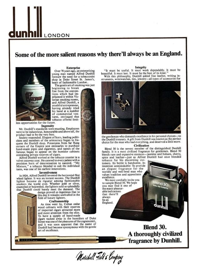 Marshall Field & Co. of Chicago Dunhill advertisement 1978.