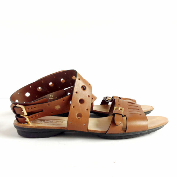 Tod's Brown Size 38 IT Flat Forature Leather Sandals