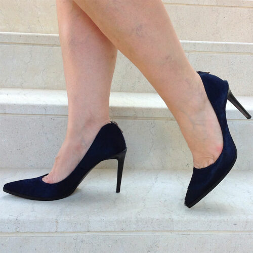 Helmut Lang Midnight Blue Calf Hair Zip Embellished size 40 Stiletto heel Pumps
