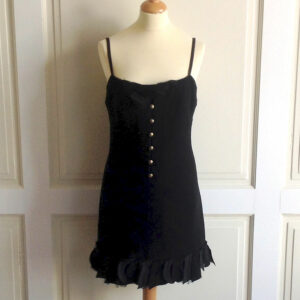 Chanel Black Wool Blend Size 38 Straped Dress w/ Logo buttons