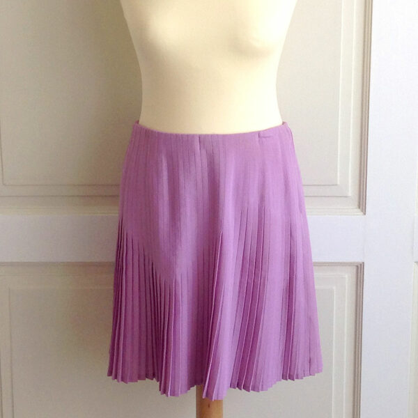 Gianni Versace Pink/Purple Size 44 Wool blend Pleated Short Skirt
