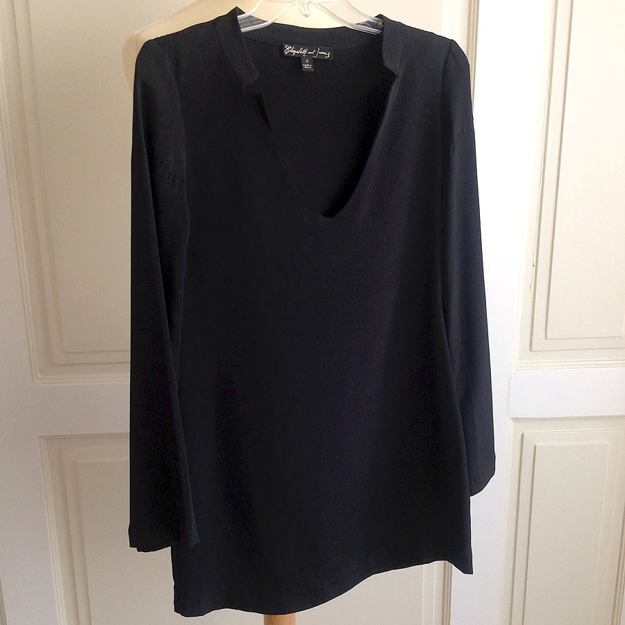 Elizabeth and James Black Size 2 Pullover V-neck Long Sleeved Silk Shift Dress