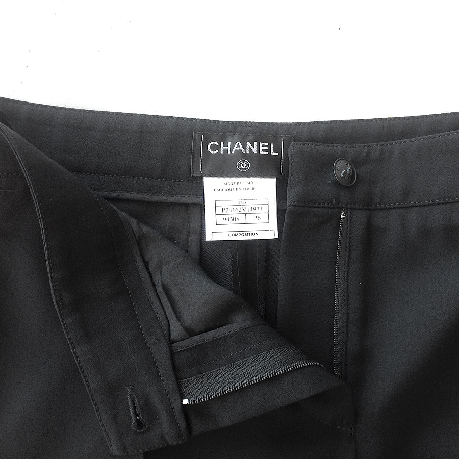 Chanel Black Straight Leg Wool Blend Size 36 Dress Pants