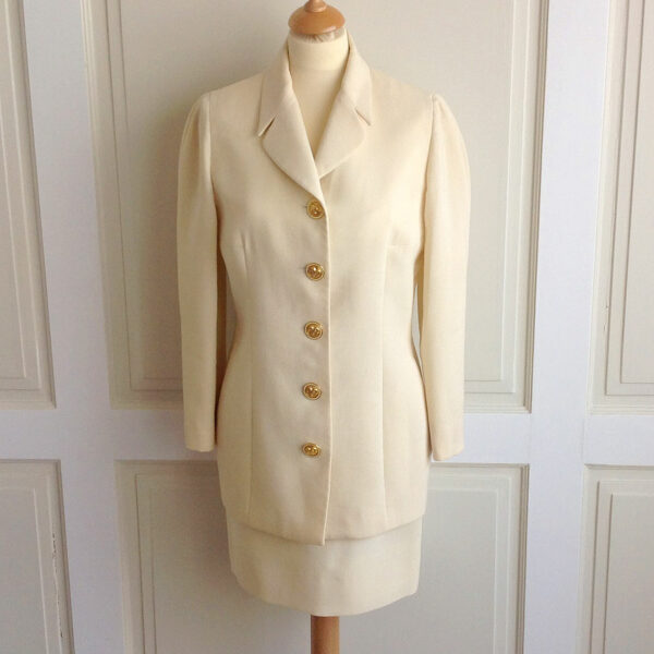 Gianni Versace Istante Cream Women S Wool Suit Jacket Size 10 Skirt