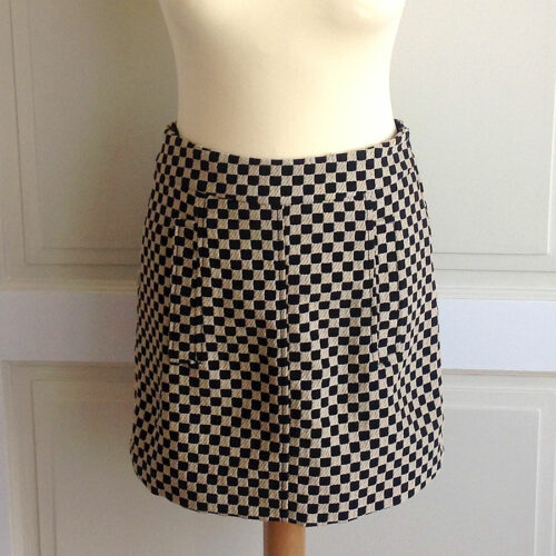 Etro Ecru/Black Size 40 Checkered Pattern Mini Skirt