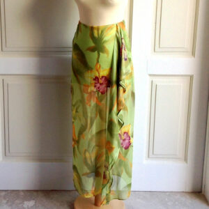 Errenno Milano Light Green Floral Size 42 Multi-Colour Silk Maxi Skirt