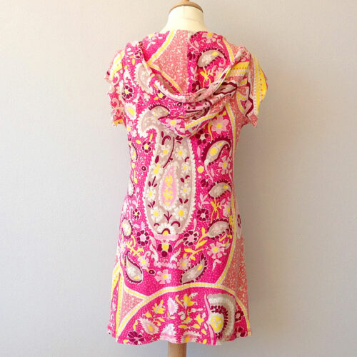 Juicy Couture Pink Paisley Print Size S/Petite Cover-up Terry Hoodie Dress