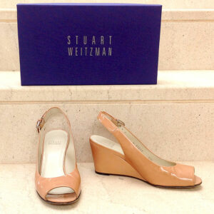 Stuart Weitzman Nude Patent Leather Size 37 1/2 Real Sling Aniline Wedge Sandals