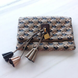 Marc Jacobs Beige Quilted Leather Tassel Padlock Clutch bag handbag