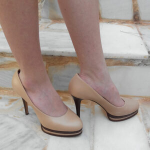 Casadei Nude Round Toe Size 37 1/2 Leather High Heel Platforms Pumps w/ Box