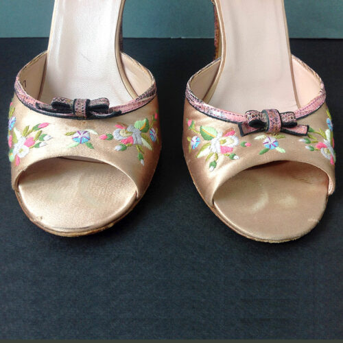 Prada Pink Satin Floral Ankle Strap Open Toe Heel Sandals Size 37 Lizard detail