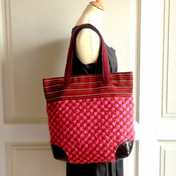 Furla Marico Multi Color Checkered Wool Canvas/Patent Leather Eco FriendlyTote