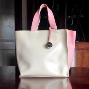 Furla Cream & Pink Leather Logo Charm Small Tote/Handbag w/ original Dust bag