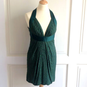 Roberto Cavalli Emerald Green Size 42 Sleeveless Dress w/ Sequin Embellishments