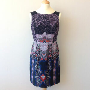 Tibi Black Purple Multi Floral Lace Size 4 Printed 100% Silk Dress