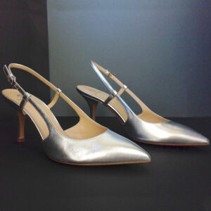 Semilla Court Silver Metallic Leather size 40 Pointed Toe Slingback Pumps Shoes