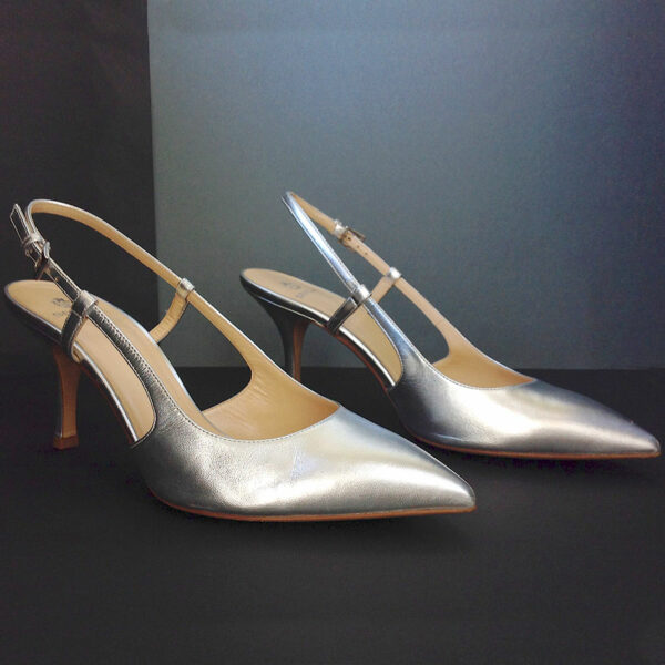 196287b8bcc ... Semilla Court Silver Metallic Leather size 40 Pointed Toe Slingback  Pumps Shoes