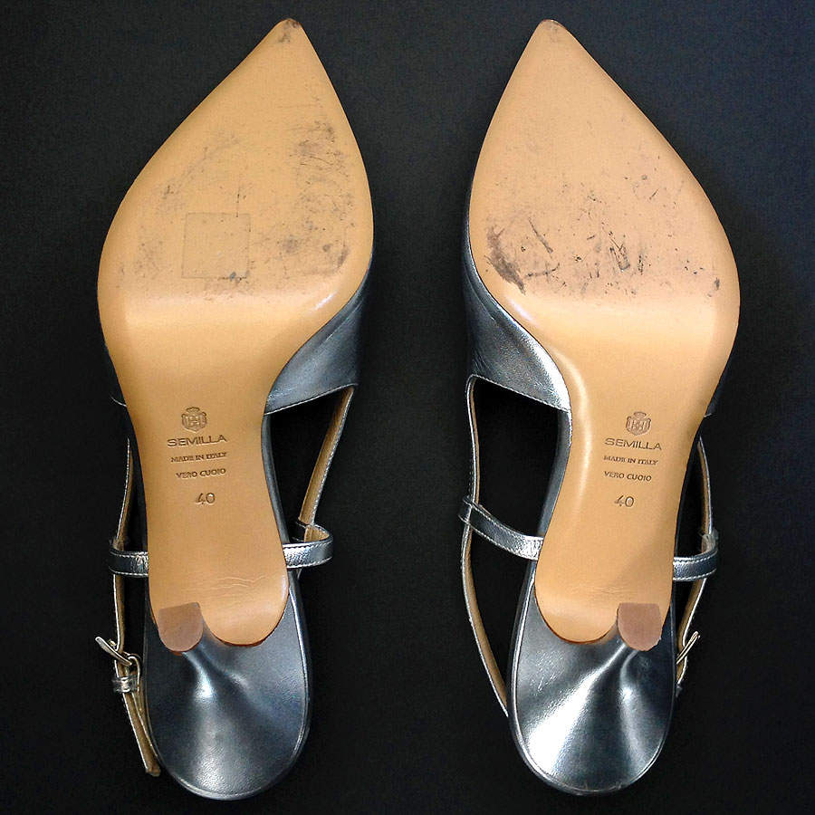 c78efdba908 Next. Semilla Court Silver Metallic Leather size 40 Pointed Toe Slingback  Pumps Shoes  Semilla ...