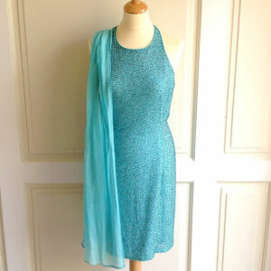 Bieff Basix Acqua 100% Silk w/ Beaded Embellishments Size 6 Dress and Shawl Set