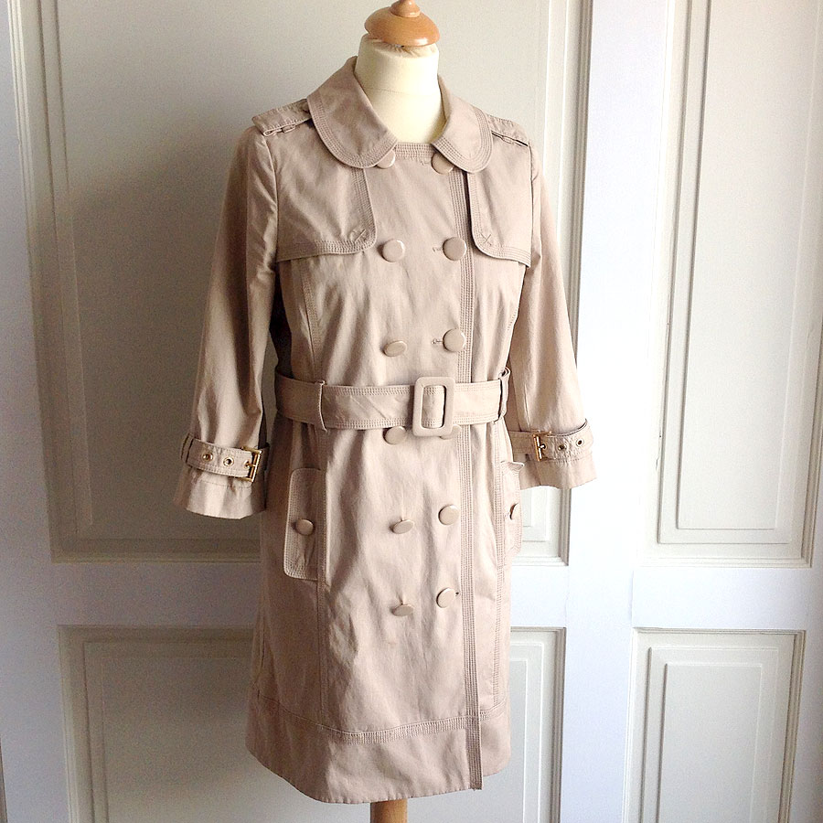 Juicy Couture Tan Women's Size M Double Breasted Belted Trench Coat