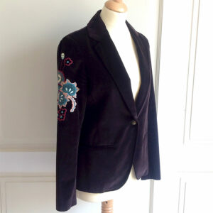 Kenzo Brown Velvet Size 40 Embroidered Blazer/Jacket