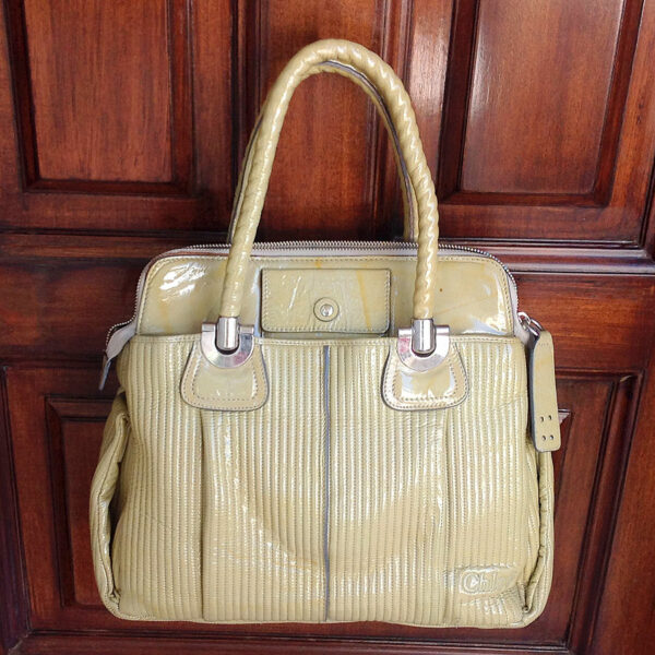 Chloe Heloise Bamboo Green Quilted Patent Leather Satchel Tote w/Dust Bag & Tags