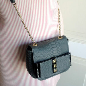 TOPSHOP Grey Faux Snake Small Bow Cross Body Handbag w/ Chain