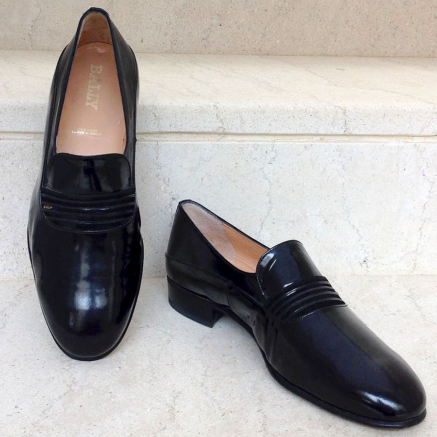 361c16fa6ced7 Bally Black Patent Leather Size 40 1/2 Men's Formal Shoes Made in ...