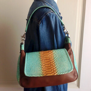 Lanzetti Camel/Aqua Green Croc Embossed detail Leather Shoulder Bag by Lexiapel