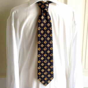 Gianni Versace Black/Gold Medusa Head & Lion Motif Print 100% Silk Neck Tie
