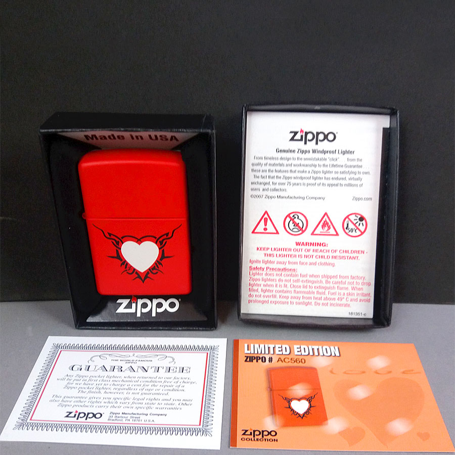 Zippo Love Valentine's Day Red Heart Limited Edition Lighter Unused Boxed Papers