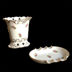 Herend Hungary Porcelain Small Vase & Ashtray w/Flower Motif & Gold Trim Set