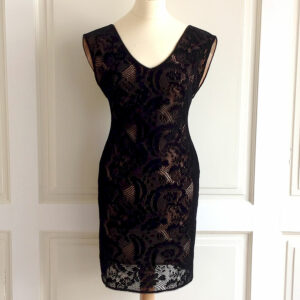 Jasmine Di Milo Black Velvet Lace V-neck Dress Size UK10 US6 EU38