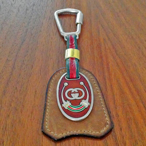 Gucci Vintage Leather With GG Gold-Tone & Enamel Logo Key Ring