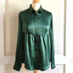 Mauro Grifoni Green Size IT44 100% Silk Long Sleeve Blouse Shirt Top