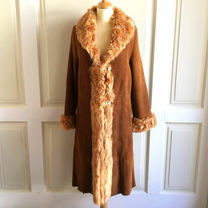 Roberto Pierguidi Suede Leather Shearling Tan Women's Belted Long Coat
