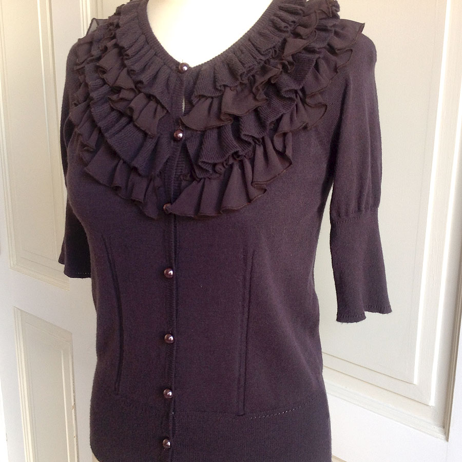 Milly New York Brown 3/4 Length Sleeve Size S Cardigan Sweater With Ruffles