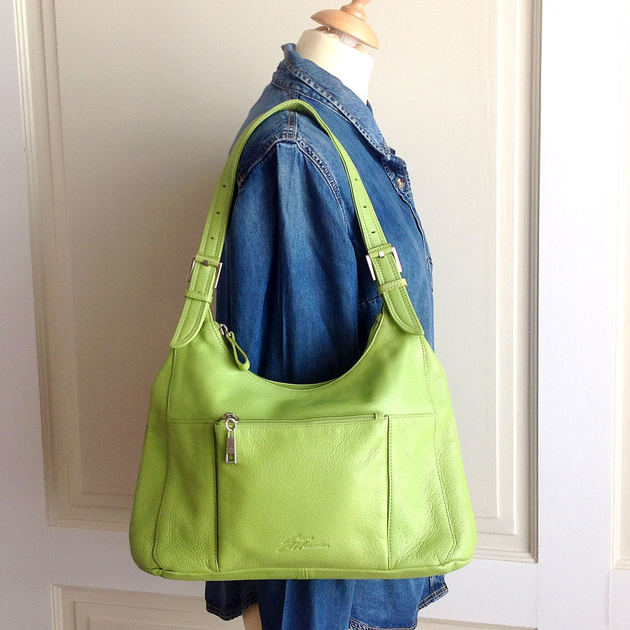 Stone Mountain Green Pebbled Leather Shoulder Bag  9180 09/04