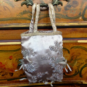 Jorando Beige Embroidered Beaded Satin Fabric Handbag w/ Tulle bag