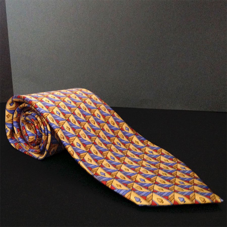 Gucci Yellow Gold, Lt Blue Card suits Patterned Print 100% Silk Neck Tie - Italy