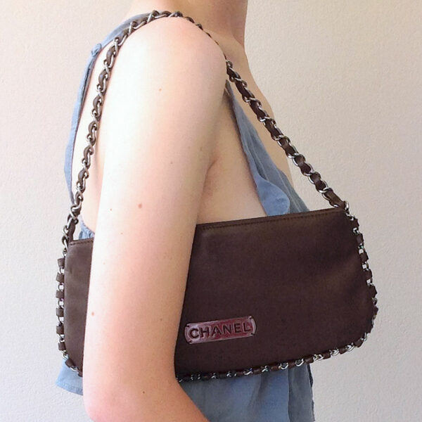 Chanel Paris Brown Chain Leather Pochette Small Shoulder Bag w/ Dustbag