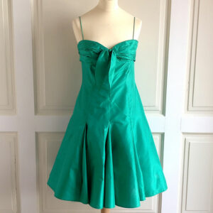 Elie Saab Green Silk Taffeta Size 44 Sleeveless A-Line Dress