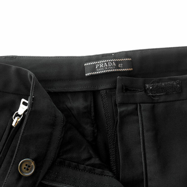Prada Black Size 42 Women's Pants Trousers w/ Signature Hardware Details