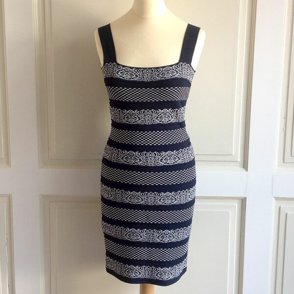D.Exterior Blue Black Size S Sleeveless Fitted Shift Dress w/ Ornamental Pattern