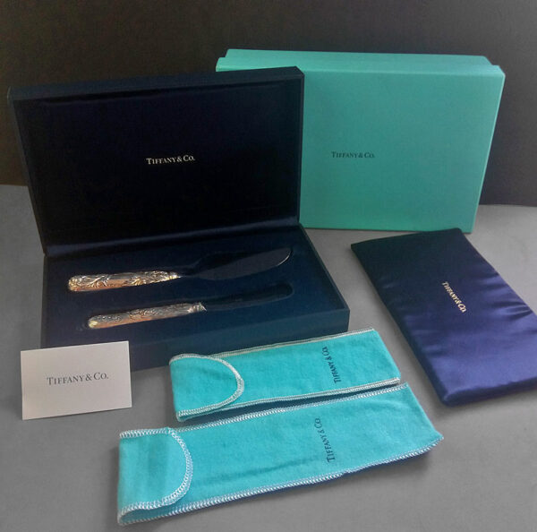 Tiffany&Co. Chrysanthemum Sterling Silver Cheese Knives Set w/Box & Sleeves