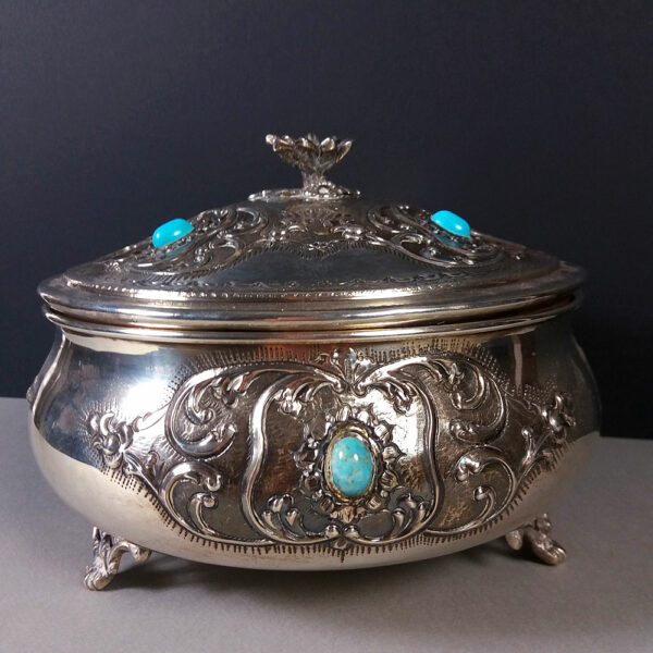 Vintage Sterling Silver 925 Footed Bowl/Box & Top w/Turquoise Cabochons Details