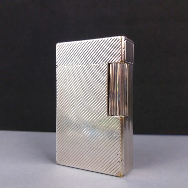S.T. Dupont Silver Plated Diagonal Lines Gas Lighter