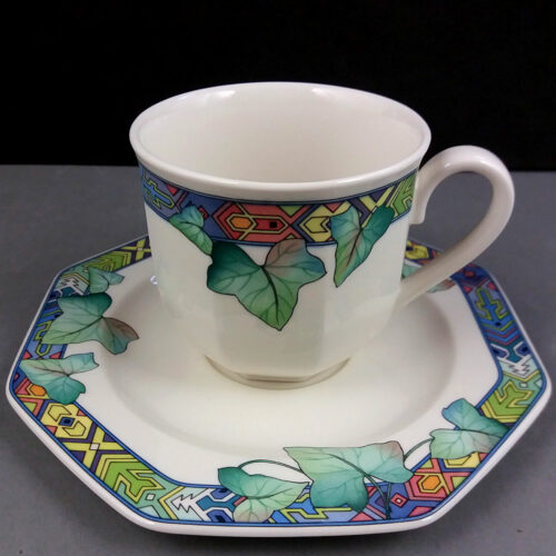 Villeroy & Boch Pasadena Set for 2 Porcelain Coffee Cups w/Saucers