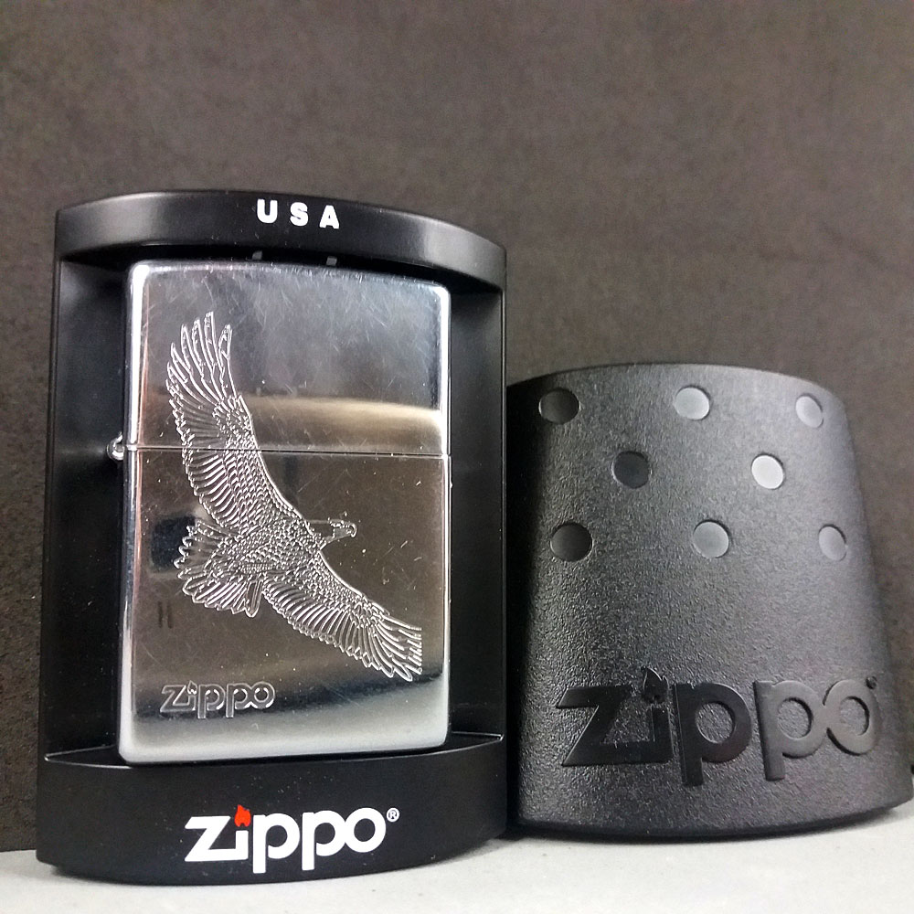 Zippo Eagle Chrome XIII Petrol Lighter In Original Case