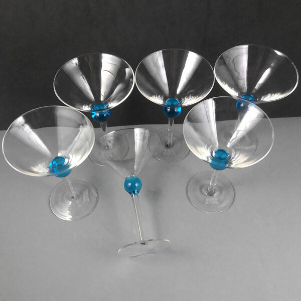 Bombay Sapphire Vintage Blue Martini Cocktail Glasses Set for 6